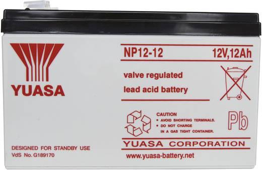 Bleiakku 12 V 12 Ah Yuasa NP12-12 NP12-12 Blei-Vlies (AGM) (B x H x T) 151 x 98 x 98 mm Flachstecker 6.35 mm Wartungsfrei, VDS-Zertifizierung