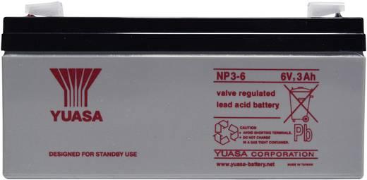 Bleiakku 6 V 3 Ah Yuasa NP3-6 NP3-6 Blei-Vlies (AGM) (B x H x T) 134 x 64 x 34 mm Flachstecker 4.8 mm Wartungsfrei