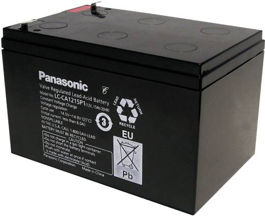 Bleiakku 12 V 15 Ah Panasonic 12 V 15 Ah LC-CA1215P1 Blei-Vlies (AGM) (B x H x T) 151 x 100 x 98 mm Flachstecker 6.35 mm Wartungsfrei, Zyklenfest