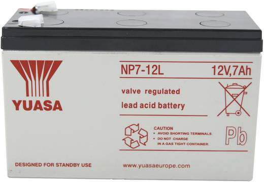 Bleiakku 12 V 7 Ah Yuasa NP7-12 L YUANP7-12L Blei-Vlies (AGM) (B x H x T) 151 x 98 x 65 mm Flachstecker 6.35 mm Wartungs