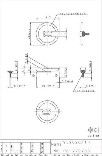 Panasonic VL2020-1HFE Knopfzellen-Akku VL 2020 Lithium 20 mAh 3 V 1 St.