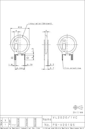 Knopfzellen-Akku VL 2020 Lithium Panasonic VL2020-1VCE 20 mAh 3 V 1 St.