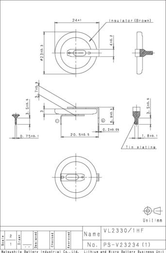Knopfzellen-Akku VL 2330 Lithium Panasonic VL2330-1HFE 50 mAh 3 V 1 St.