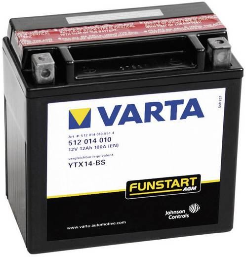 Motorradbatterie Varta YTX14-4, YTX14-BS 12 V 12 Ah ETN 512014010 Passend für Motorräder, Quads, Jetski, Schneemobile