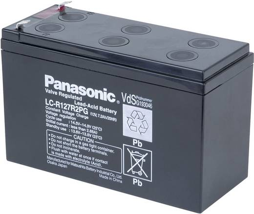 Bleiakku 12 V 7.2 Ah Panasonic 12 V 7,2 Ah LC-R127R2PG Blei-Vlies (AGM) (B x H x T) 151 x 94 x 65 mm Flachstecker 4.8 mm