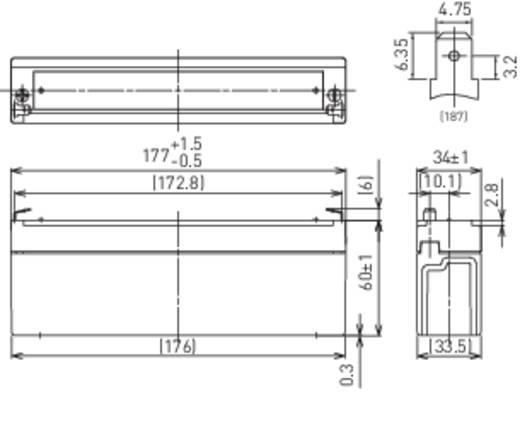 Bleiakku 12 V 2.2 Ah Panasonic 12 V 2,2 Ah LC-R122R2PG Blei-Vlies (AGM) (B x H x T) 177 x 60 x 34 mm Flachstecker 4.8 mm