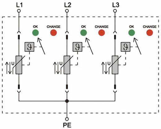 Überspannungsschutz-Ableiter Überspannungsschutz für: Verteilerschrank Weidmüller VPU II 3 LCF 280V/40kA 1352700000 20