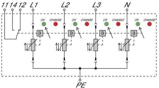 Überspannungsschutz-Ableiter Überspannungsschutz für: Verteilerschrank Weidmüller VPU II 4 R 280V/40kA 1352690000 20 kA