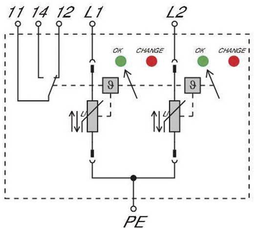 Überspannungsschutz-Ableiter Überspannungsschutz für: Verteilerschrank Weidmüller VPU II 2R 280V/40kA 1352620000 20 kA