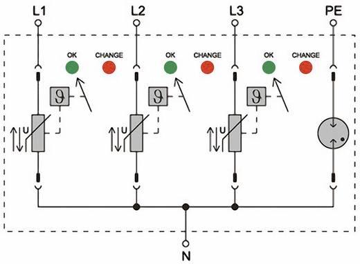 Überspannungsschutz-Ableiter Überspannungsschutz für: Verteilerschrank Weidmüller VPU II 3+1 R 280V/40kA 1352650000 20