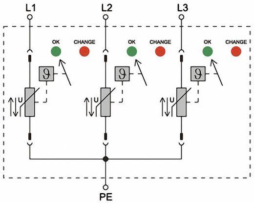 Überspannungsschutz-Ableiter Überspannungsschutz für: Verteilerschrank Weidmüller VPU II 3 750V / 40kA 1351090000 12.5
