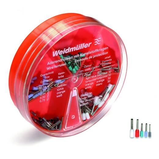 Aderendhülsen-Sortiment 0.104 mm² 0.705 mm² Grau, Hellblau, Türkis, Orange, Weiß Weidmüller 9025410000 150 St.