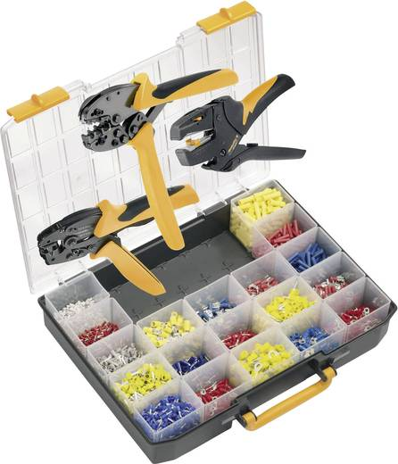 Crimpzangen-Set Aderendhülsen, Isolierte Verbinder 0.14 bis 6 mm² Inkl. Abisolierzange, Inkl. Crimpsortiment mit Koffer