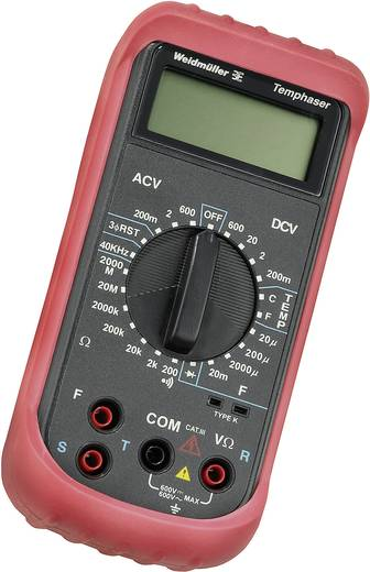 Hand-Multimeter digital Weidmüller TEMPHASER Kalibriert nach: Werksstandard CAT III 600 V Anzeige (Counts): 2000