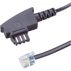 TAE, RJ11 telefónny prepojovací kábel Basetech BT-1602094, 6.00 m, čierna