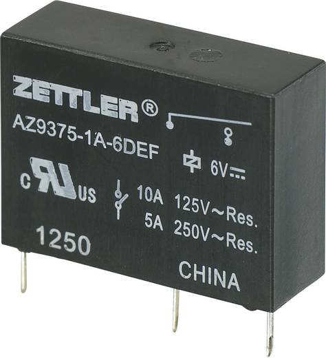 Printrelais 6 V/DC 10 A 1 Schließer Zettler Electronics AZ9375-1A-6DEF 1 St.