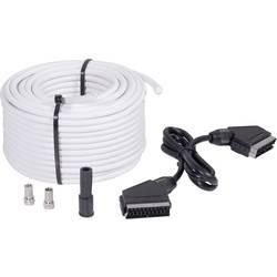 SAT prepojovací kábel BKL Electronic SAT 25 SET, 75 dB, 25.00 m, čierna, biela