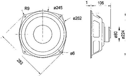 10 Zoll 25.4 cm Lautsprecher-Chassis Visaton WS 25 E 80 W 8 Ω