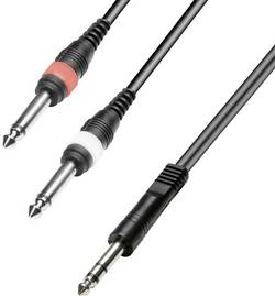 Câble adaptateur Jack [2x Jack mâle 6.35 mm - 1x Jack mâle 6.35 mm] Paccs HAC35BK025SD noir 2.5 m