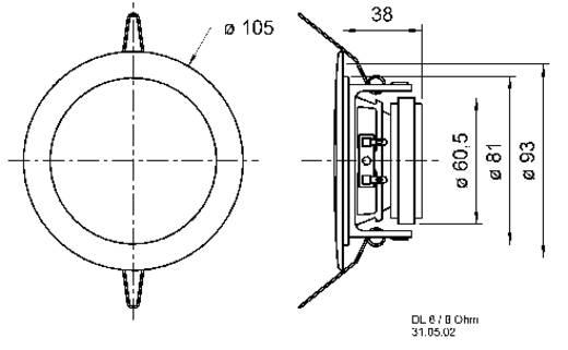 Einbaulautsprecher Visaton DL-8 30 W 8 Ω Weiß 1 St.