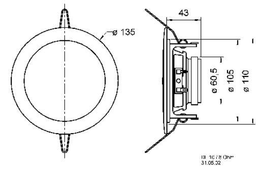 Einbaulautsprecher Visaton DL-10 30 W 8 Ω Weiß 1 St.