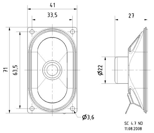 2.7 Zoll 7.1 cm Breitband Lautsprecher-Chassis Visaton SC 4.7 ND 2 W 8 Ω