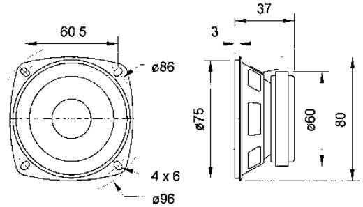 3.3 Zoll Breitband Lautsprecher-Chassis Visaton FR 8 10 W 8 Ω