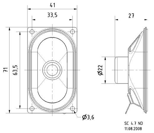 2.5 Zoll 6.4 cm Breitband Lautsprecher-Chassis Visaton SC 4.7 ND 2 W 4 Ω