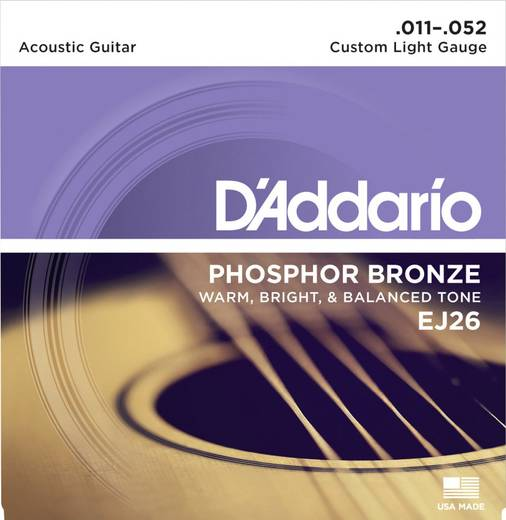 Westerngitarrensaite D´Addario EJ26 Custom Light 011-052