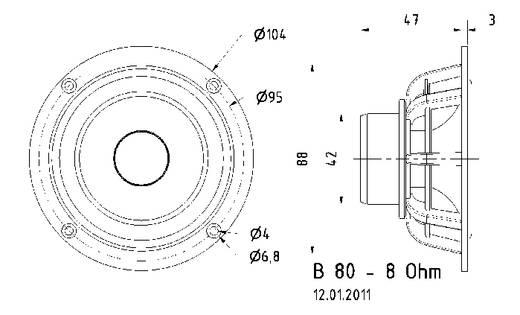 3.3 Zoll 8 cm Breitband Lautsprecher-Chassis Visaton B 80 30 W 8 Ω