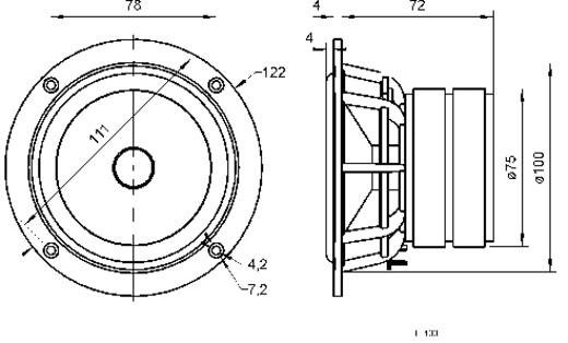 Visaton TI 100 4 Zoll 10.16 cm Lautsprecher-Chassis 40 W 8 Ω
