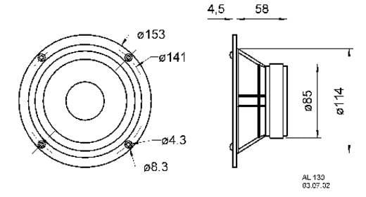 6 Zoll 15.24 cm Lautsprecher-Chassis Visaton AL 130 M 60 W 8 Ω