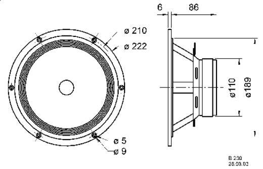 8 Zoll 20.32 cm Lautsprecher-Chassis Visaton B 200 40 W 8 Ω