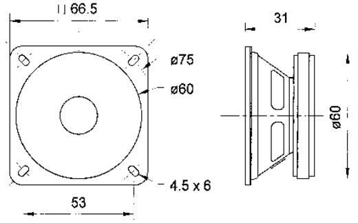 Visaton FRS 7 2.5 Zoll 6.4 cm Breitband Lautsprecher-Chassis 8 W 4 Ω