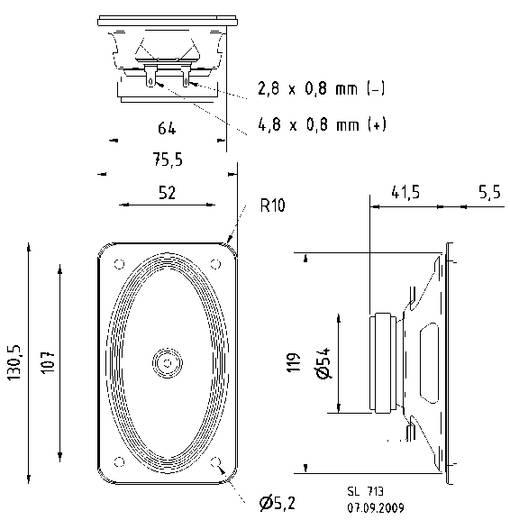 Visaton SL 713 4.2 Zoll 10.8 cm Breitband Lautsprecher-Chassis 10 W 4 Ω