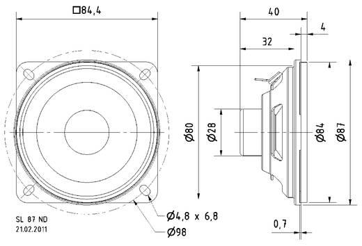 3.4 Zoll 8.5 cm Breitband Lautsprecher-Chassis Visaton SL 87 ND 10 W 8 Ω