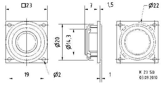 0.9 Zoll Miniaturlautsprecher Visaton K 23 SQ 8 Ω