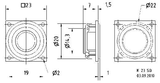 Visaton K 23 SQ 0.9 Zoll 2.3 cm Miniaturlautsprecher 8 Ω