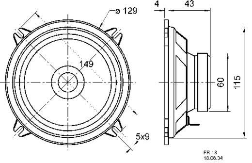 5 Zoll 13 cm Breitband Lautsprecher-Chassis Visaton FR 13 4 Ohm 30 W 4 Ω