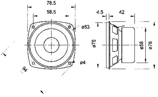 Visaton F 8 SC 3.3 Zoll 8 cm Breitband Lautsprecher-Chassis 20 W 8 Ω
