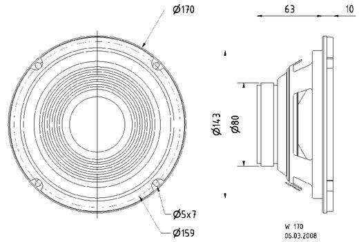 6.5 Zoll 16.51 cm Lautsprecher-Chassis Visaton W 170 8 Ohm 40 W 8 Ω