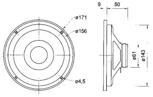 "6.5 Zoll 16.51 cm Breitband Lautsprecher-Chassis Visaton FR 6,5"" 40 W 8 Ω"
