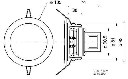 ELA-Einbaulautsprecher Visaton DL 8 100 V 3 W 100 V Weiß 1 St.