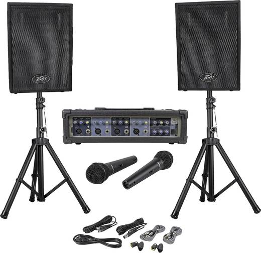 Peavey Audio Performer Pack Passives PA Lautsprecher-Set inkl. Mikrofon, inkl. Stativ