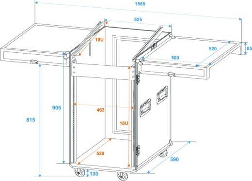 DJ-Mixer Case Spezial Kombi-Case, 18 HE (L x B x H) 560 x 1220 x 650 mm