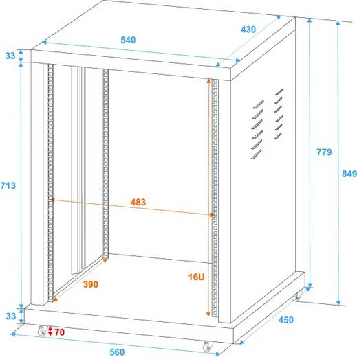 19 Zoll Rack 16 HE Omnitronic 30103172 Stahl inkl. Rollen