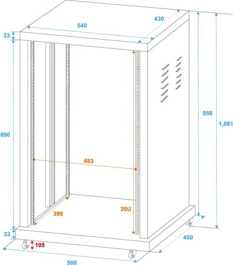 19 Zoll Rack 20 HE Omnitronic 30103195 Stahl inkl. Rollen