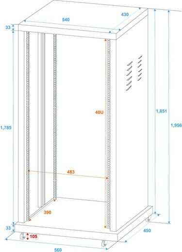 19 Zoll Rack 40 HE Omnitronic 30103220 Stahl inkl. Rollen