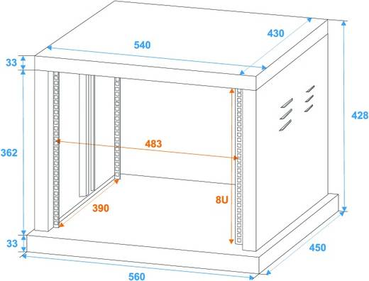 19 Zoll Rack 8 HE Omnitronic 30103166 Stahl