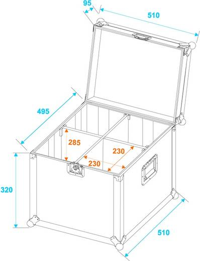Case Roadinger Transportcase PAR-64 (L x B x H) 520 x 530 x 425 mm